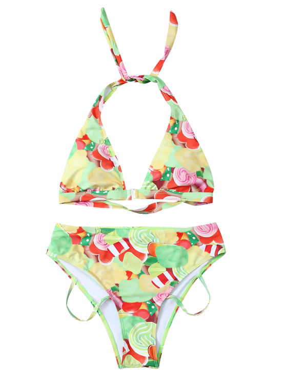 Cutout Printed Bikini Set - YELLOW XL Mobile