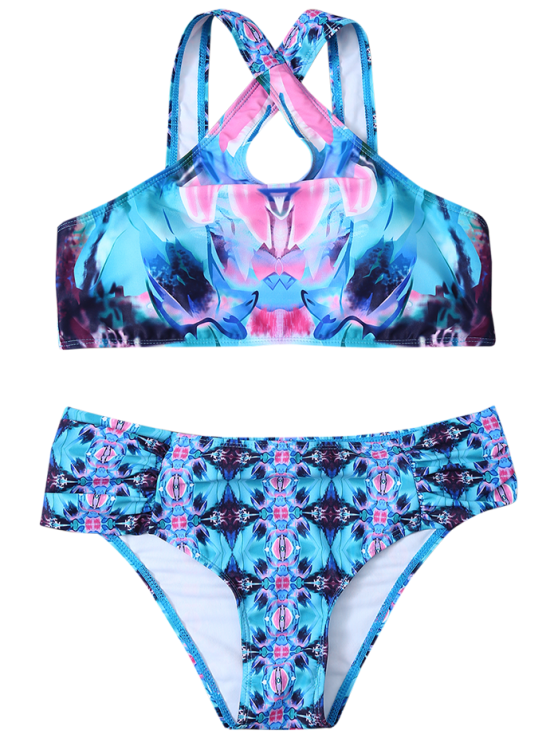 Printed Crossover Bikini Set - BLUE XL Mobile
