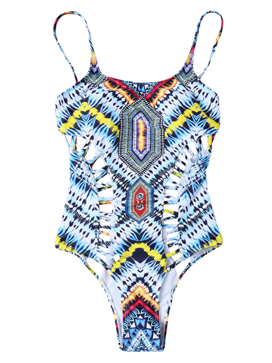 Patternd Cut Out One Piece Swimwear - COLORMIX M Mobile