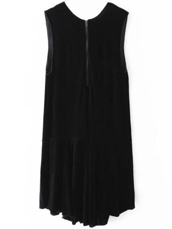 Frill Hem Velvet Tank Dress - BLACK S Mobile