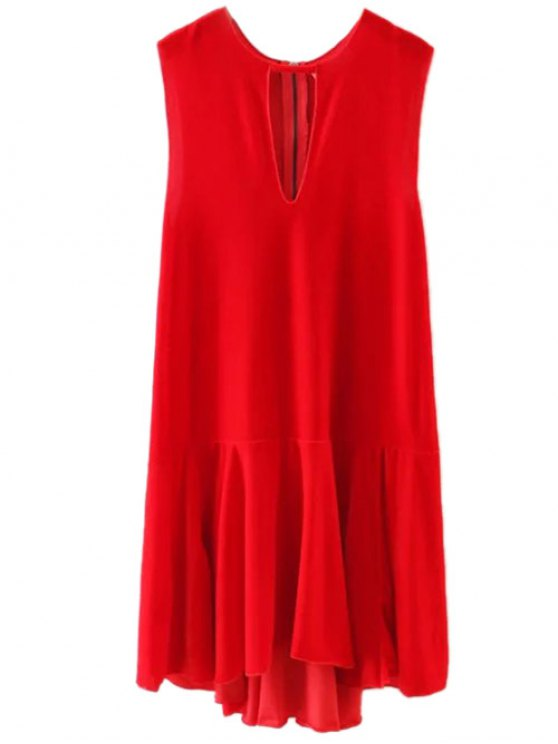Frill Hem Velvet Tank Dress - RED M Mobile