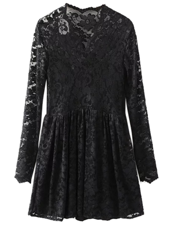 Lace V Neck Dress - BLACK M Mobile