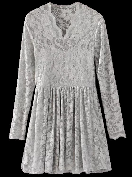 Lace V Neck Dress - GRAY M Mobile
