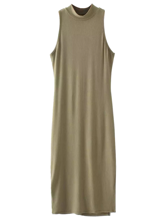 new Slit Sleeveless Bodycon Ribbed Dress - OLIVE GREEN ONE SIZE
