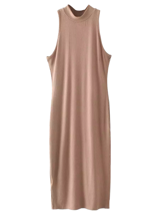 online Slit Sleeveless Bodycon Ribbed Dress - CAMEL ONE SIZE