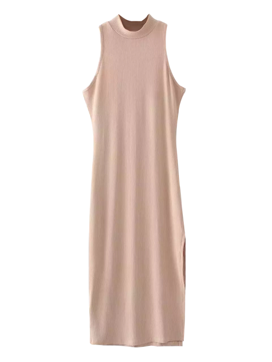 best Slit Sleeveless Bodycon Ribbed Dress - LIGHT CAMEL ONE SIZE