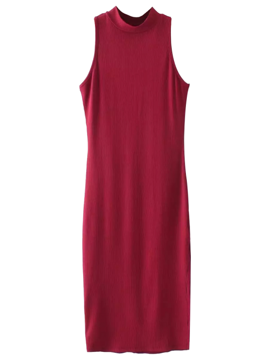 lady Slit Sleeveless Bodycon Ribbed Dress - BURGUNDY ONE SIZE