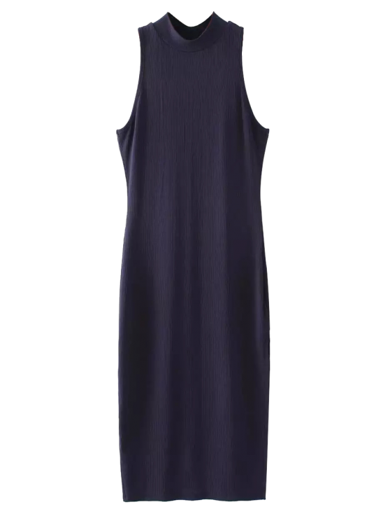 Slit Sleeveless Bodycon Ribbed Dress - PURPLISH BLUE ONE SIZE Mobile