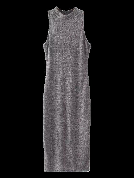 women Slit Sleeveless Bodycon Ribbed Dress - GRAY ONE SIZE