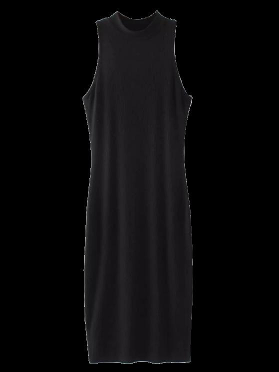 Hendidura mangas bodycon vestido acanalado - Negro Única Talla