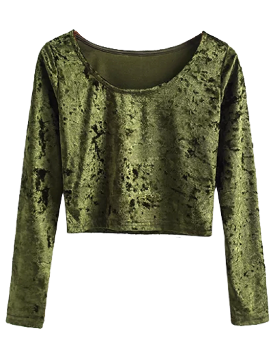Vintage Scoop Neck Velvet Crop Top - ARMY GREEN S Mobile