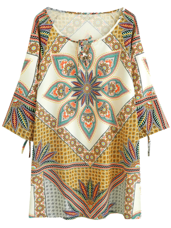 Printed Ralgan Sleeve Mini Tunic Dress - BROWN M Mobile