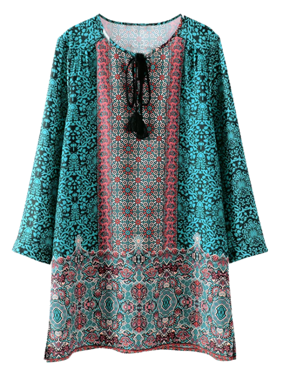 online Printed Vintage Long Sleeve A-Line Dress - GREEN S