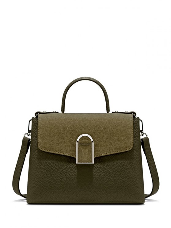 Suede Panel Flapped Handbag - GREEN  Mobile