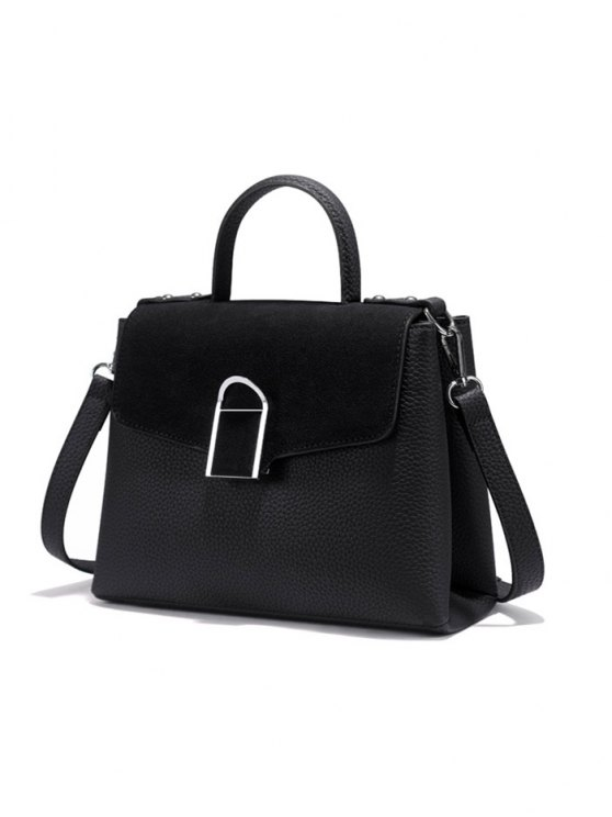 Suede Panel Flapped Handbag - BLACK  Mobile