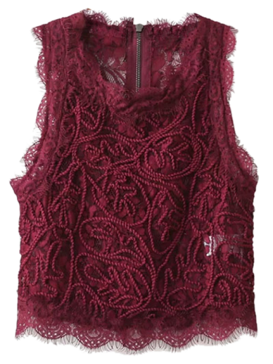 Frayed Lace Scalloped Cropped Tank Top - BURGUNDY M Mobile