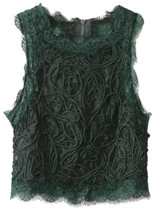 Frayed Lace Scalloped Cropped Tank Top - BLACKISH GREEN L Mobile