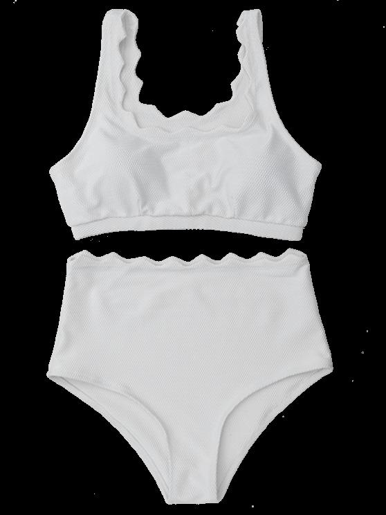 shop Scalloped U Neck High Waist Bikini Set - WHITE L