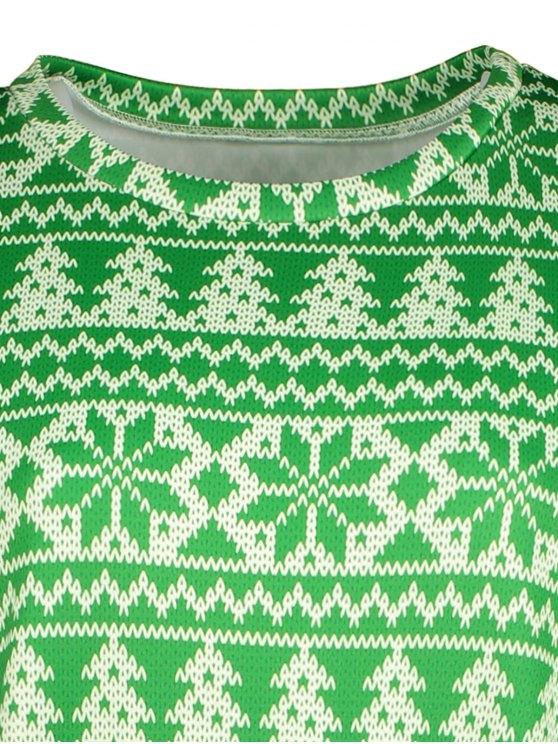 Snowflake Patterned Sweatshirt - GREEN XL Mobile