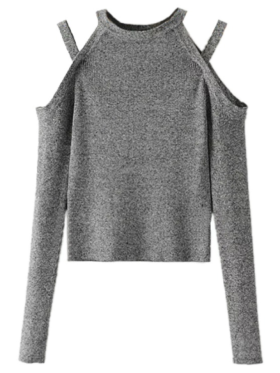 Banded Cold Shoulder Knitted Top - GRAY S Mobile