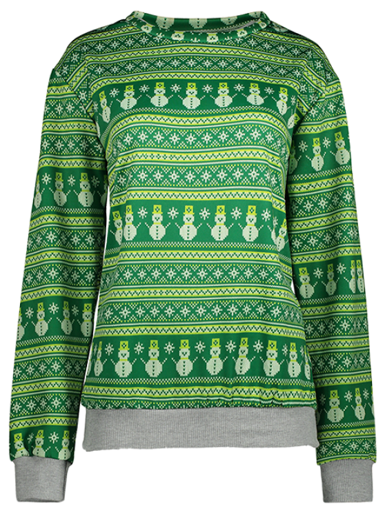 Snowman Patterned Sweatshirt - GREEN L Mobile