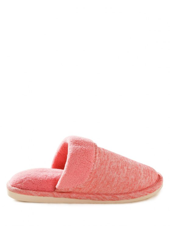 Cotton Fabric Flat Heel Flocking House Slippers - PINK SIZE(39-40) Mobile
