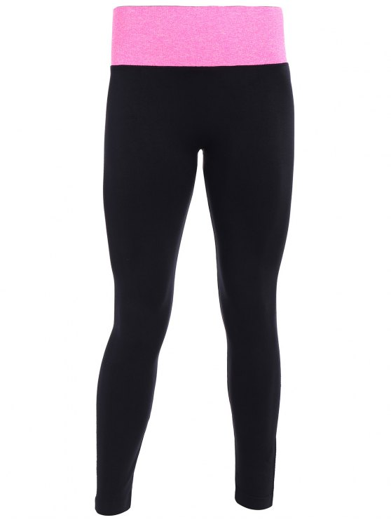 Tight Fit Active Leggings - BLACK AND ROSE RED M Mobile