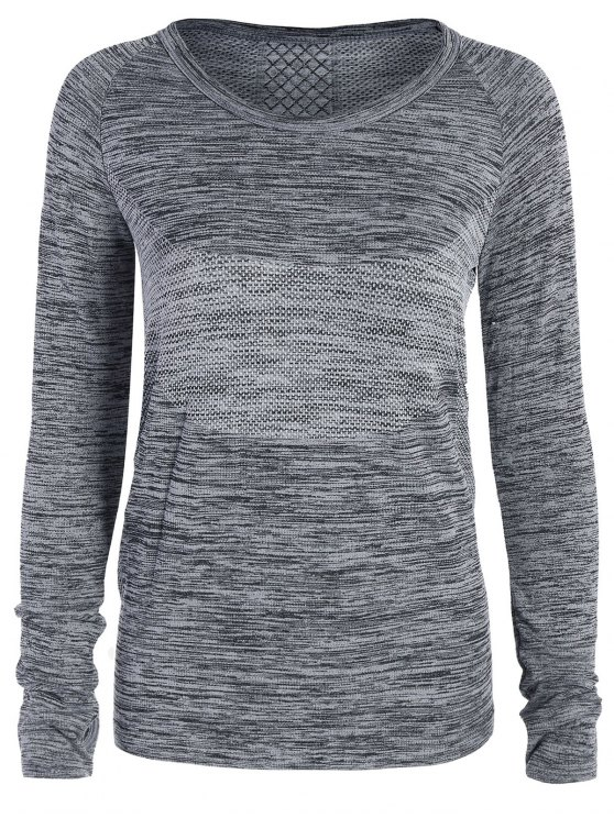 Long Sleeved Space Dye Sports Tee - GRAY M Mobile