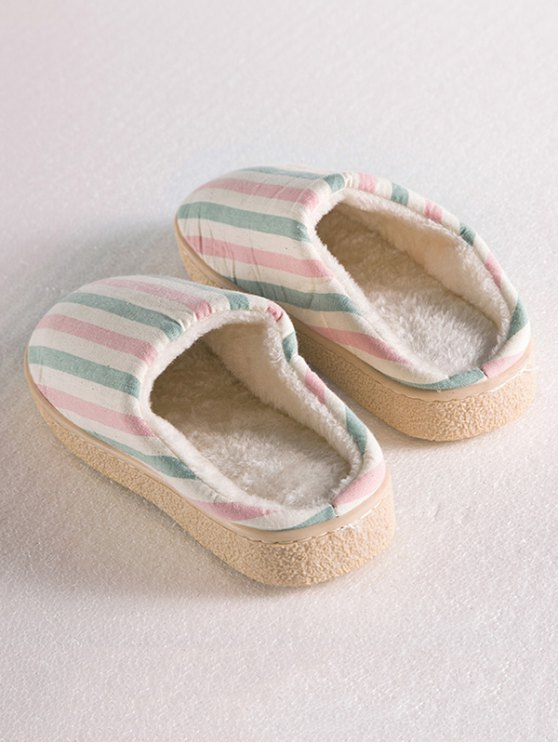 Flat Heel Striped Flocking House Slippers - PINK SIZE(40-41) Mobile
