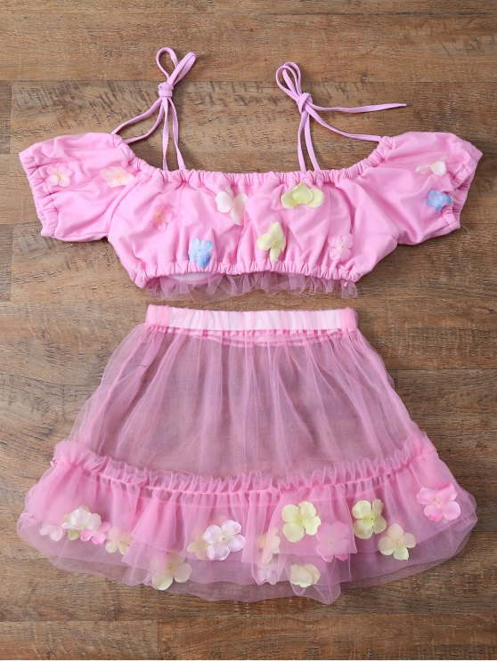 Tulle Three Piece Bikini - PINK M Mobile