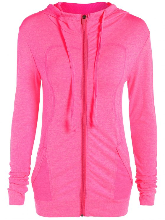 Marlled Hooded Active Sweat Jacket - ROSE RED M Mobile
