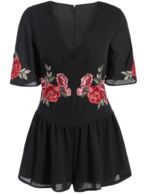 Fitting Floral Embroidered Romper - BLACK XL Mobile