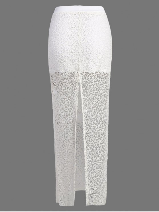 Long Lace Slit Skirt - WHITE L Mobile