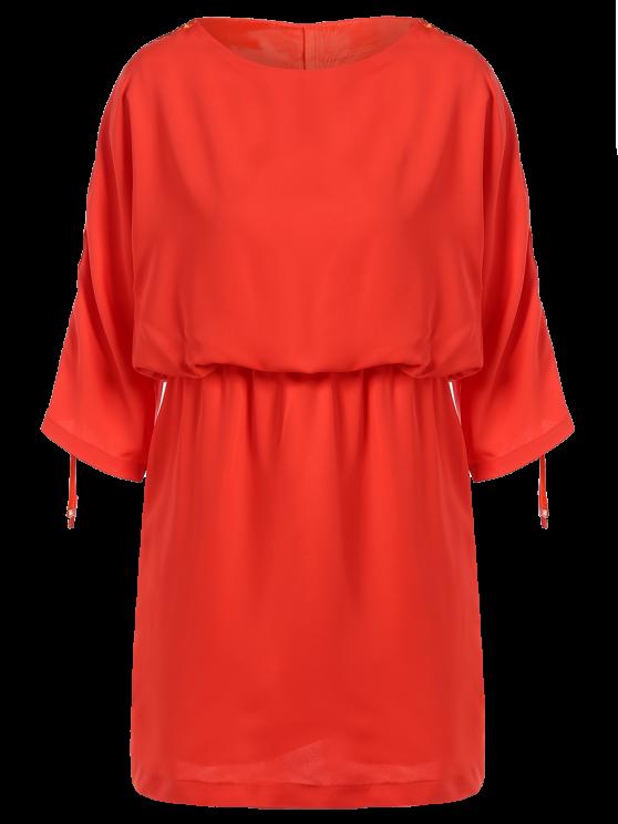 Lazo de la manga del vestido de la cintura que adelgaza - rojo, naranja, S