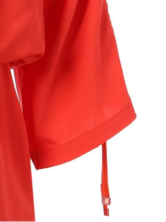Drawstring Sleeve Waist Slimming Dress - ORANGE RED XL Mobile