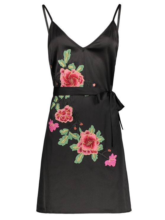 Mini Floral Embroidered Slip Dress - BLACK S Mobile