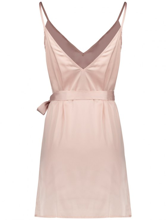 Mini Floral Embroidered Slip Dress - SHALLOW PINK S Mobile