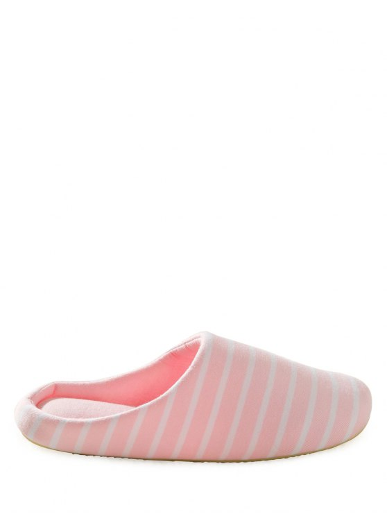 Color Block Flat Heel Stripe House Slippers - PINK 37 Mobile