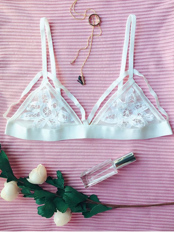 Lace Mesh Wireless Bra - WHITE M Mobile