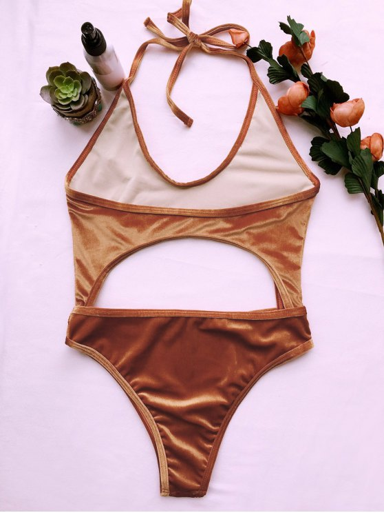 Cut Out Velvet One-Piece Swimwear - GOLD BROWN S Mobile