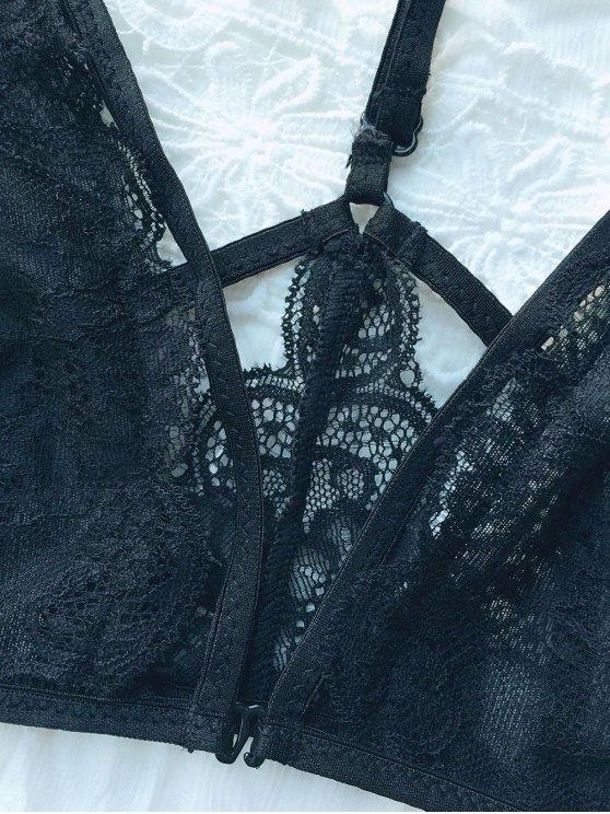 Lace Panel Strappy Crossover Bra - BLACK M Mobile