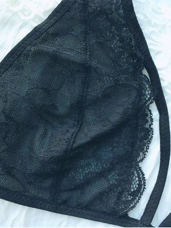 Lace Panel Strappy Crossover Bra - BLACK L Mobile