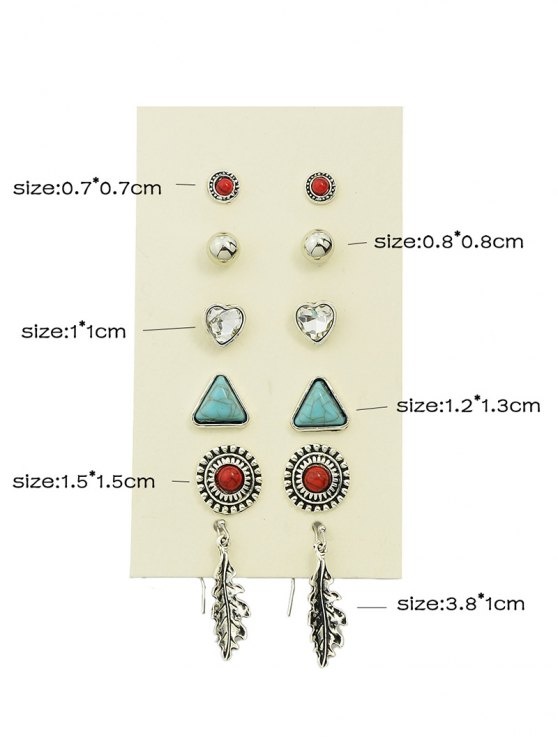 Faux Turquoise Rhinestone Heart Earring Set - SILVER  Mobile