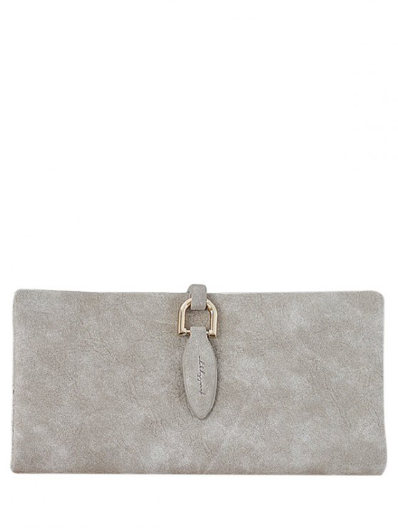 outfits Metal Embellished Bi Fold Clutch Wallet - LIGHT KHAKI