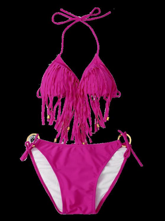 Fringed Halter Side Knot Bikini Set - TUTTI FRUTTI L Mobile