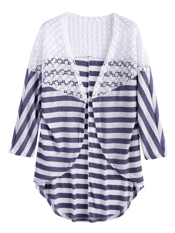 Hollow Out Striped Cardigan - STRIPE XL Mobile