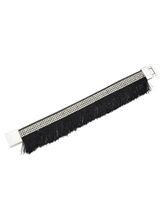 Rhinestone Faux Leather Tassel Bracelet - BLACK  Mobile