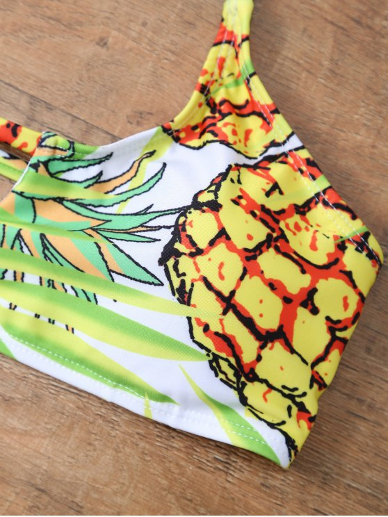 Pineapple Pattern Halter Padded Bikini - COLORMIX S Mobile