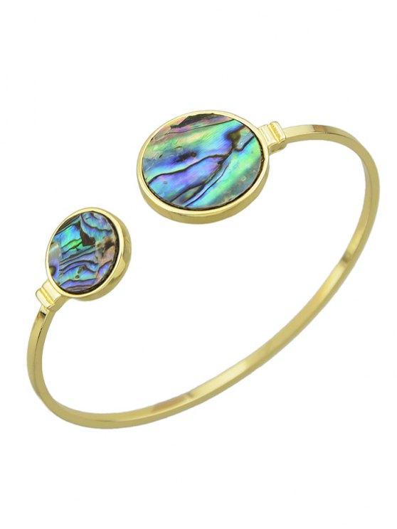Artificial Gem Circle Cuff Bracelet - GOLDEN  Mobile