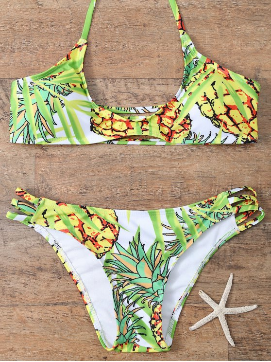 Pineapple Print Halter Padded Bikini - COLORMIX M Mobile